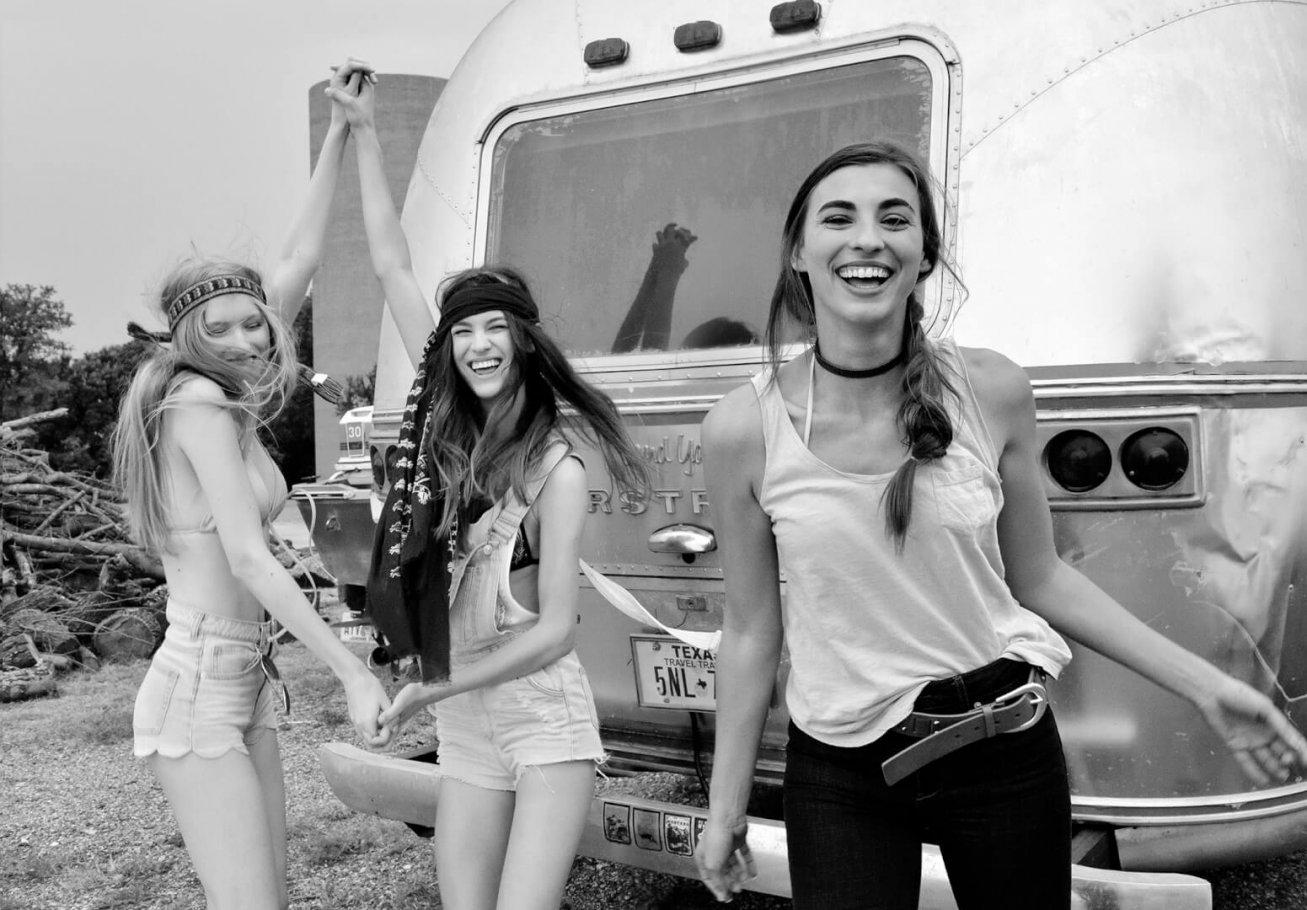 beautiful girls dancing in black and white