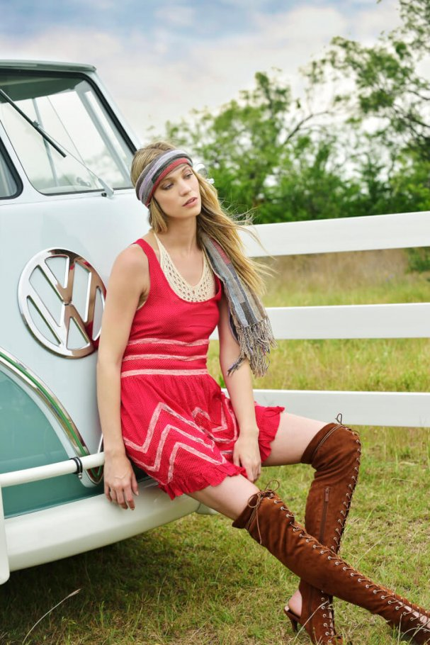 beautiful girl and vintage VW